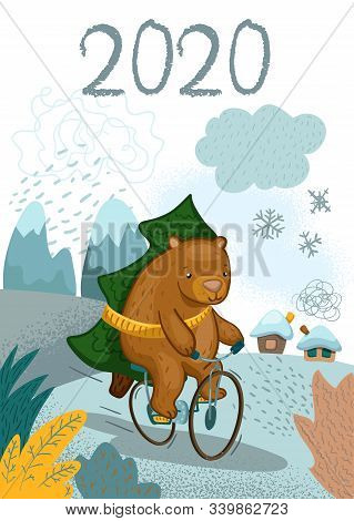 Cute Bear Character On Bicycle With Fir Tree Vector Illustration. Christmas Greeting Card With Cute