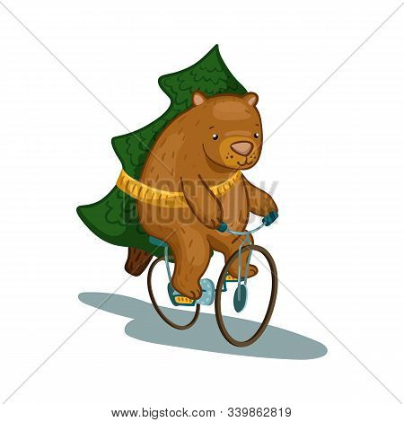 Cute Bear Character On Bicycle With Fir Tree Vector Illustration. Fir Tree Delivery Service. Bear Ca