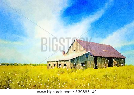 Digital watercolour of a barn in a yellow meadow with a blue sky