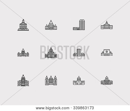 Building Icons Set. Idaho State Capitol And Building Icons With Famous Building, Landscape, State Ca