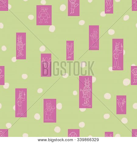 Vector Pastel Green Polka Dots Anthropomorphic Characters In Fun Rectanglar Shapes Seamless Pattern