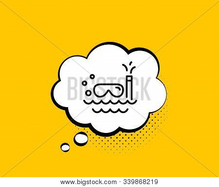 Travel Scuba Diving Line Icon. Comic Speech Bubble. Trip Swimming Sign. Holidays Symbol. Yellow Back