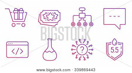 Restructuring, Blog And Chemistry Lab Line Icons Set. Shopping Cart, Question Mark And Loyalty Point