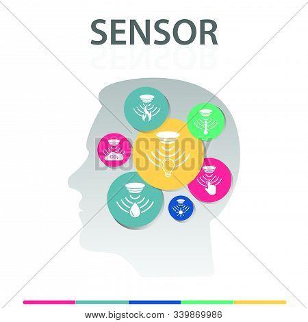 Sensor Infographics Design. Timeline Concept Include Flame Detector, Gas Sensor, Light Sensor Icons.