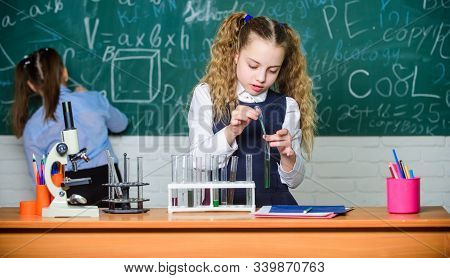 Lab Microscope And Testing Tubes. Little Children. Science. Biology Experiments With Microscope. Che