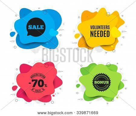 Volunteers Needed. Liquid Shape, Various Colors. Volunteering Service Sign. Charity Work Symbol. Geo