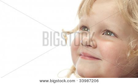 little child girl smiling portrait isolated on white background