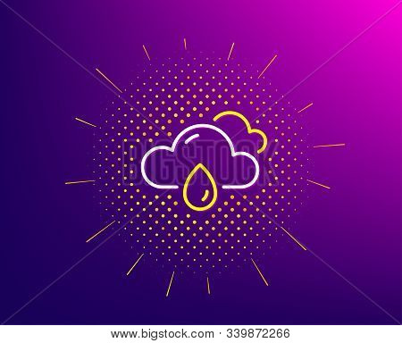 Rainy Weather Forecast Line Icon. Halftone Pattern. Clouds With Rain Sign. Cloudy Sky Symbol. Gradie
