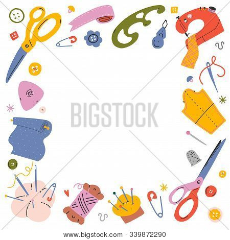 Sewing Frame Background. Vector Template With Hand Drawn Coloful Illustrations Of Sewing Tools And S