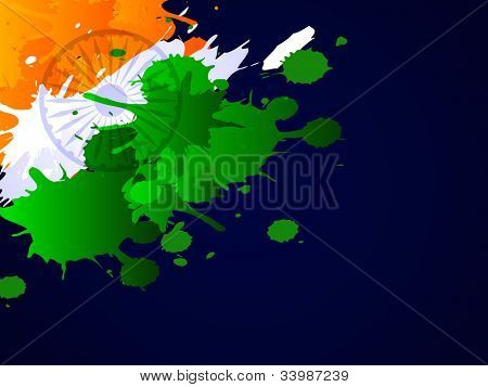 Indian Flag theme background with grungy tri color effects on dark blue backgground for Republuc Day, Independence Day and other occasions. EPS 10.