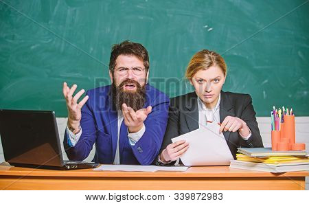 Businessman And Serious Secretary. Teacher And Student On Exam. Back To School. Formal Education. Pa