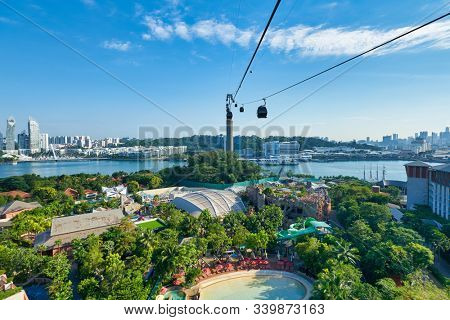 SINGAPORE - CIRCA APRIL, 2019: view from a cable car in Singapore.