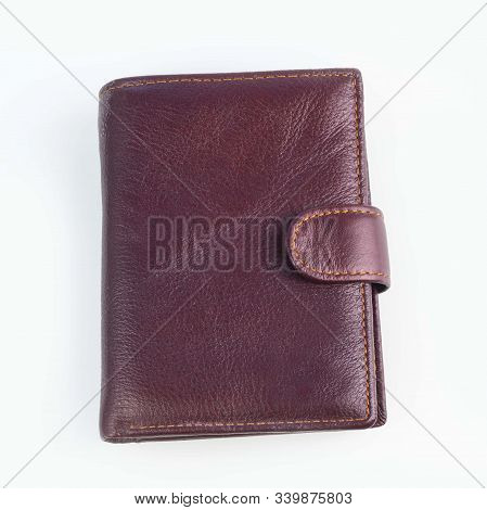 Close-up. On White Background. Men's Leather Wallet. No Insulation.