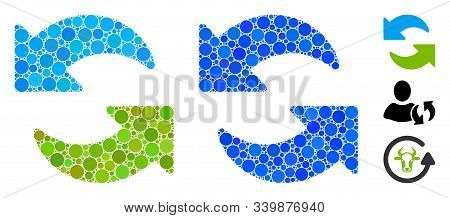 Refresh Mosaic Of Small Circles In Variable Sizes And Color Tints, Based On Refresh Icon. Vector Sma