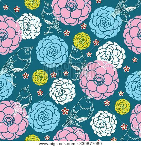 Birds In Camellias And Cherry Blossoms Pattern. Modern Japanese Floral Print In A Colorful Graphic F