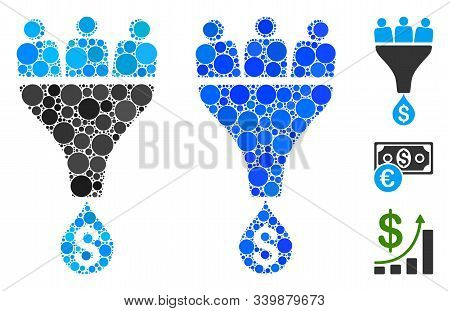 Sales Funnel Mosaic Of Round Dots In Variable Sizes And Color Tints, Based On Sales Funnel Icon. Vec