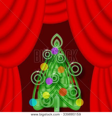 Bright Colorful Christmas Tree On A Theatrical Stage With Red Curtains