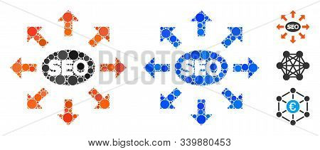 Seo Spam Composition Of Round Dots In Different Sizes And Color Hues, Based On Seo Spam Icon. Vector