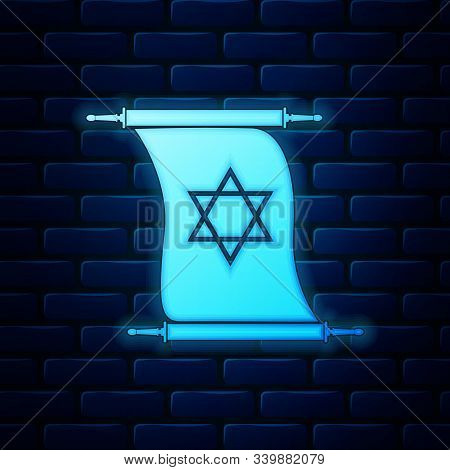Glowing Neon Torah Scroll Icon Isolated On Brick Wall Background. Jewish Torah In Expanded Form. Tor