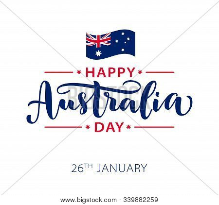 Happy Australia Day. Vector Illustration Hand Drawn Text Lettering For Australia Day.