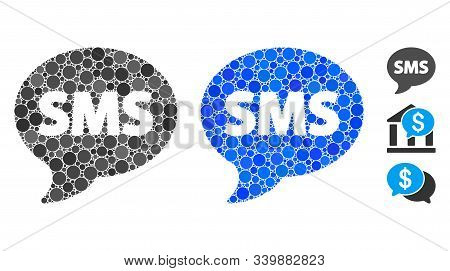 Sms Composition Of Circle Elements In Various Sizes And Color Tints, Based On Sms Icon. Vector Circl