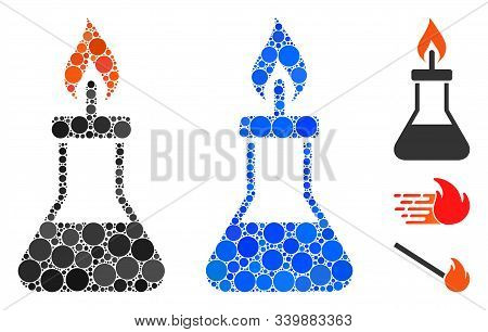 Spirit Lamp Fire Composition Of Round Dots In Variable Sizes And Color Tones, Based On Spirit Lamp F