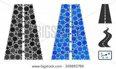 Straight Road Mosaic Of Round Dots In Different Sizes And Color Tones, Based On Straight Road Icon.