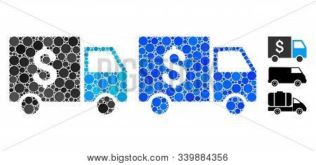 Tax collector car composition of round dots in various sizes and shades, based on tax collector car icon. Vector round elements are organized into blue illustration. poster