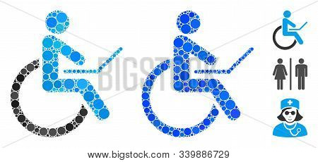 Wheelchair Composition Of Round Dots In Various Sizes And Color Hues, Based On Wheelchair Icon. Vect