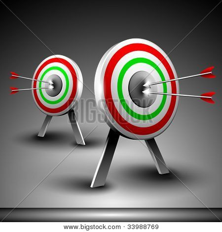 Two targets with hitting darts isolated on grey background. EPS 10.