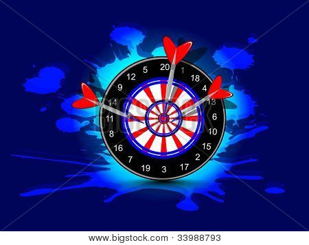 Three darts hitting target, Arrow and bow game concept on grungy dark blue background.EPS 10. poster