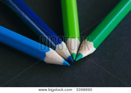 Blue And Green Crayons