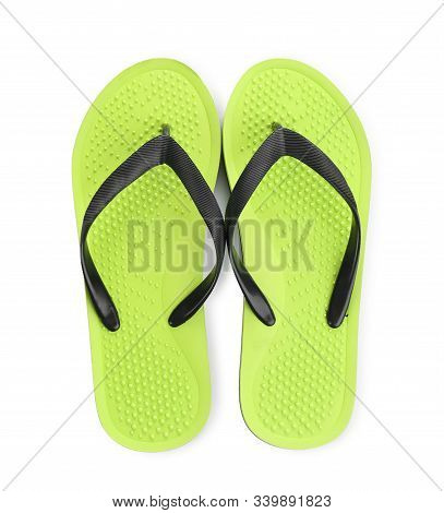 Stylish Bright Flip Flops Isolated On White, Top View
