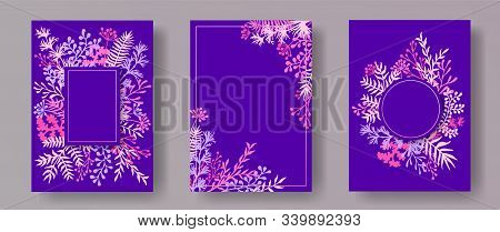Tropical Herb Twigs, Tree Branches, Leaves Floral Invitation Cards Collection. Herbal Frames Creativ