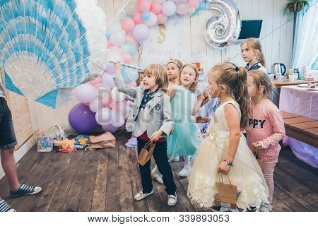 Perm/russia - June, 28, 2019: Little Boy Is Going To Broke The Pinata. Children Birthday Party.