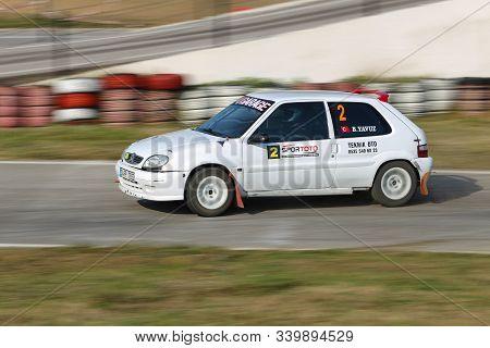 Kocaeli, Turkey - November 24, 2019: Berat Berke Yavuz Drives Citroen Saxo Vts During Turkish Rallyc