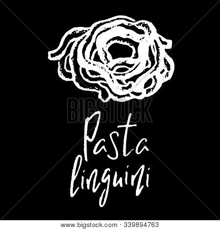 Italian Pasta Linguini White Chalk Vector Illustration On Black Background. Simple Food Recipe. Rest