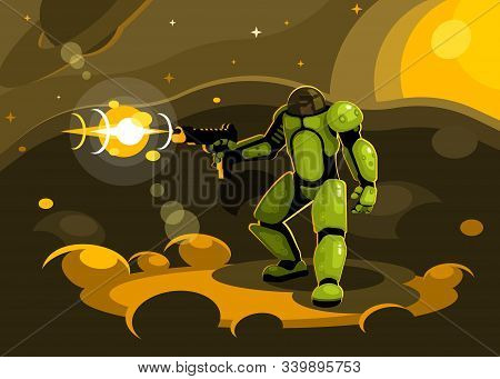 Space Paratrooper Shoots With A Submachine Gun. Star Infantry Conquers The Planet