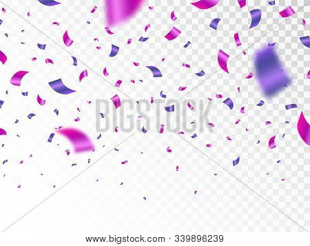 Purple And Pink Confetti Isolated On Transparent Background. Falling Color Confetti. Realistic Brigh