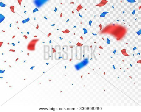 Red And Blue Confetti Isolated On Transparent Background. Anniversary Decoration Elements. Falling C