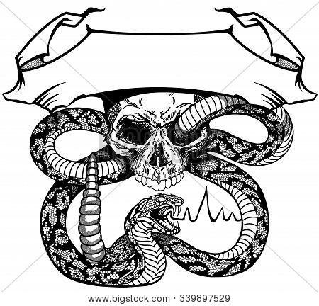 Snake Coiled Round The Human Skull. Angry Dangerous Rattlesnake. Logo, Banner, Emblem With Ribbon Sc