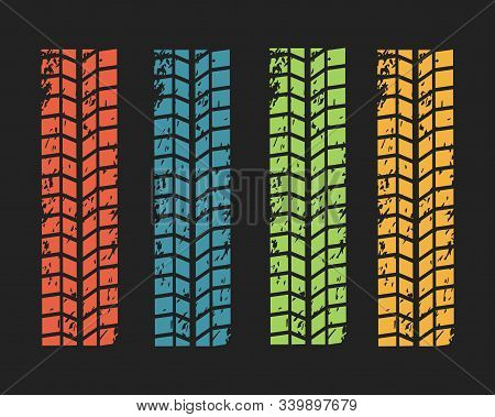 Collection Textures Of Vector Tire Tracks With Separate Grunge Texture, Tire Marks, Tire Tread, Trea