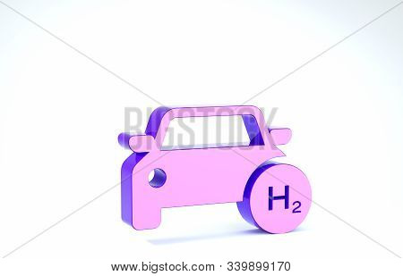 Purple Hydrogen Car Icon Isolated On White Background. H2 Station Sign. Hydrogen Fuel Cell Car Eco E