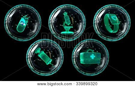 Set Of Five Medical Bio Tech Icons Made In Shpe Of Milecula, Cell, Digital Concept Of Fitire Helthca