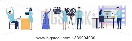 Movie Production Concept. Flat Male Female Characters Making Film. Script, Filming, Post-production