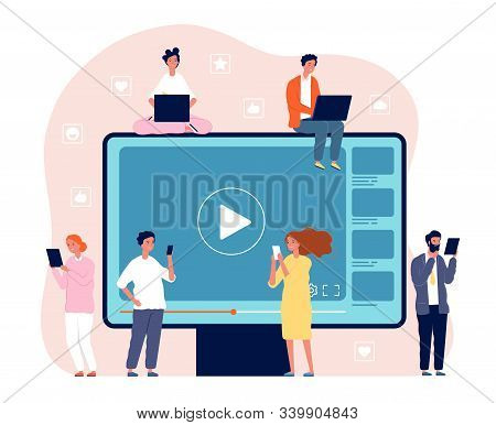 People Watching Video. Digital Network Television Live Stream Entertainment Media Vector Video Playe