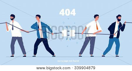 People Disconnect Plug. Business Characters Unplug Connection System Error Angry Persons Vector Flat