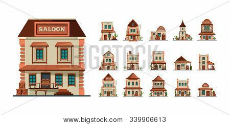 Western Buildings. Wildlife West Construction Saloon Country Market Banks American Old Houses Vector