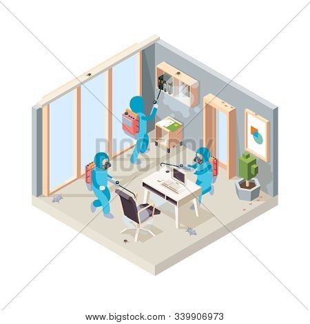 Office Disinfection. Pest Poison Cleaning Service Working In Room Insects Controlling Vector Isometr