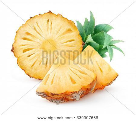 Isolated Pineapple. Fresh Pieces Of Unpeeled Pineapple Fruit Isolated On White Background With Clipp